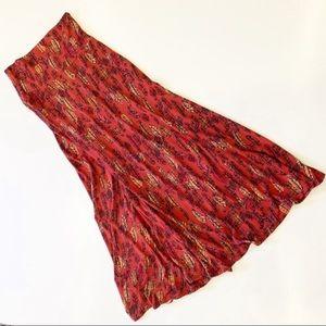 Lularoe Maxi Skirt Feathers Orang Long Skirt